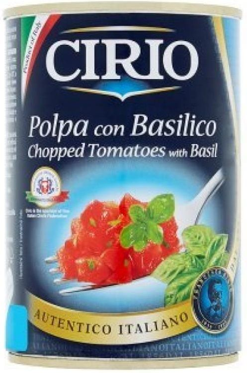 CIRIO Loupaná krájená rajčata v rajčatové šťávě s bazalkou 12× 400 g