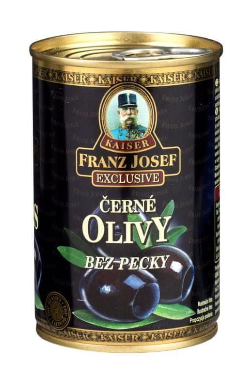 Franz Josef Kaiser Kaiser Exclusive Černé olivy v mírně slaném nálevu bez pecky 12× 300 g