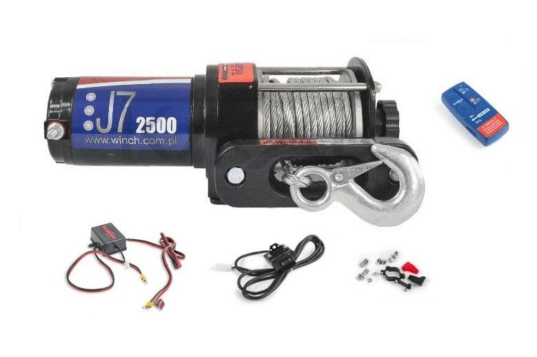 Titanium Elektrický lanový naviják 12V 1,1t (2500lbs - 1134kg) TITANIUM WINCH s ovladačem na řidítka a dálkovým ovladačem ES-J7-2500-DO
