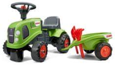 Falk Lábbal hajtható zöld Class traktor kormánykerékkel és platóval