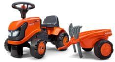 Falk Lábbal hajtható narancssárga Kubota traktor kormánykerékkel és platóval
