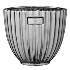 Lene Bjerre Velký keramický obal na květináč ROSALIE stříbrný 16 x 18 cm