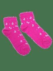 Fuchsiové kotníkové dámské ponožky Mašle