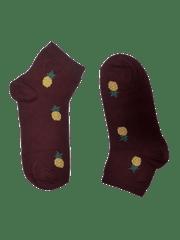 Bordové kotníkové dámské ponožky Ananas