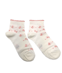 Bílé kotníkové dámské ponožky Mašle