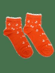 Oranžové kotníkové dámské ponožky Mašle