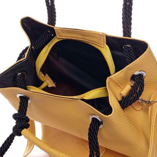 Carine Módní dámský koženkový vak Henri žlutá