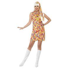 Smiffys Kostium damski, hipis - rozmiar L 44-46, kostiumy halloweenowe