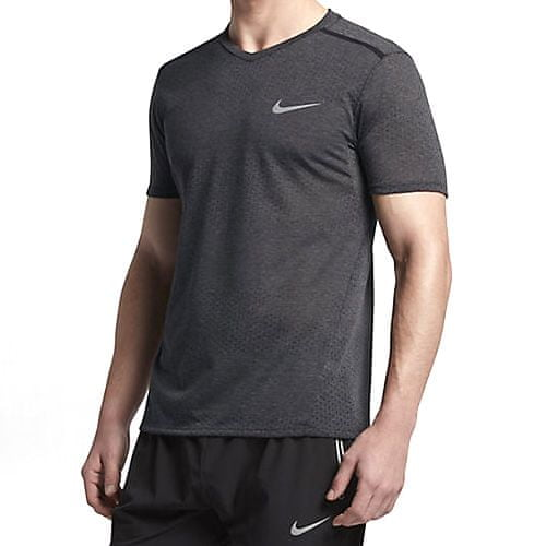 Nike M NK BRTHE TOP SS TAILWIND CLV, 10 | RUNNING | MENS | SHORT SLEEVE TOP | BLACK / HTR / BLACK | S