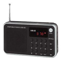 Akai DR002A-521 FEKETE digitális FM PLL rádió, 9204500 | DR002A-521 FEKETE digitális FM PLL rádió