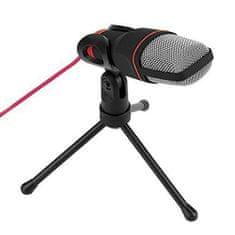 Omega Platinet VGMM namizni mikrofon, s trinožnim stojalom s prilagodljivim naklonom, 1,8 m, rdeč kabel