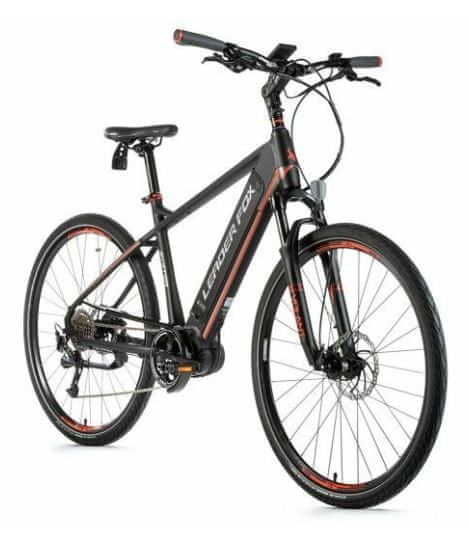 Leader Fox Exeter moško električno kolo, 20,5, mat črno/oranžno