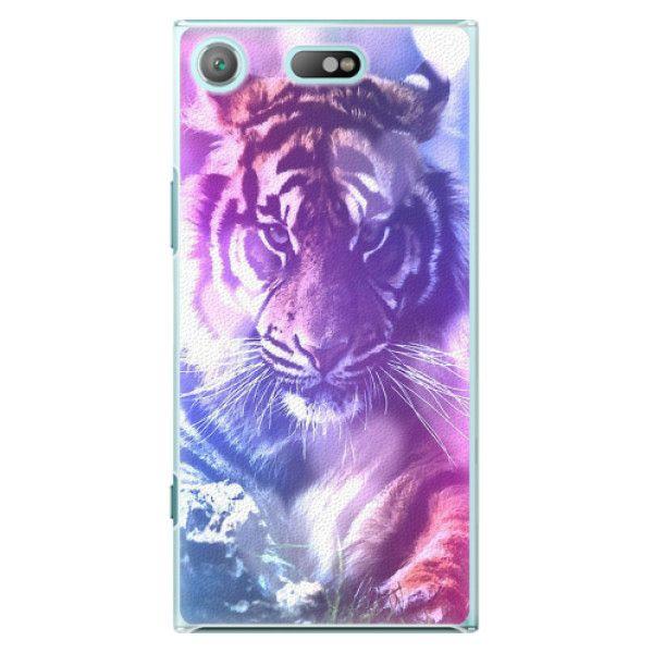iSaprio Plastový kryt - Purple Tiger pro Sony Xperia XZ1 Compact