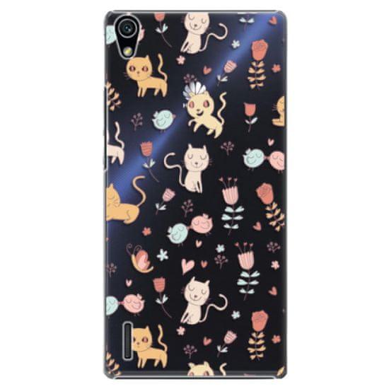 iSaprio Plastikowa obudowa - Cat pattern 02 na Huawei Ascend P7