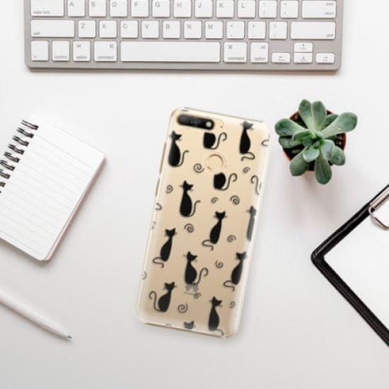 iSaprio Cat pattern 05 - black műanyag tok Huawei Y6 Prime 2018