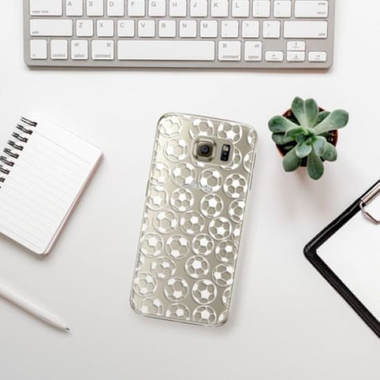 iSaprio Plastikowa obudowa - Football pattern - white na Samsung Galaxy S6 Edge Plus