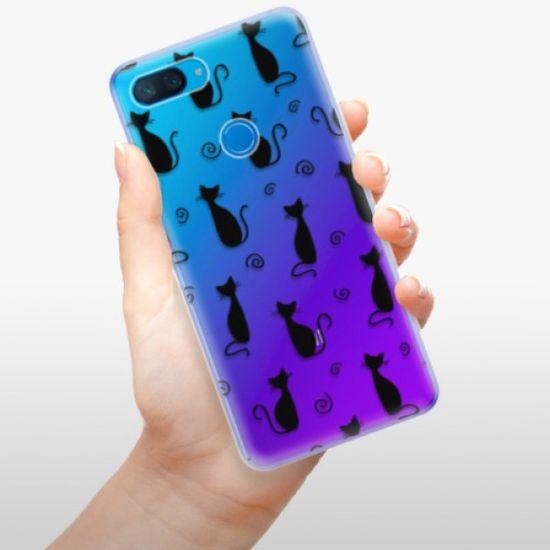 iSaprio Silikonowe etui - Cat pattern 05 - black na Xiaomi Mi 8 Lite