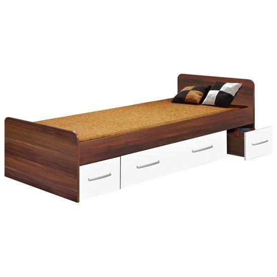 IDEA nábytek Jednolůžko se zásuvkami 60345 ořech/bílá