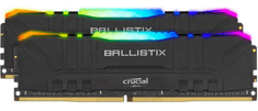 Crucial Ballistix RGB 32GB Kit (2x16GB), DDR4, 3200MHz, DIMM, CL16 pomnilnik, črn (BL2K16G32C16U4BL)