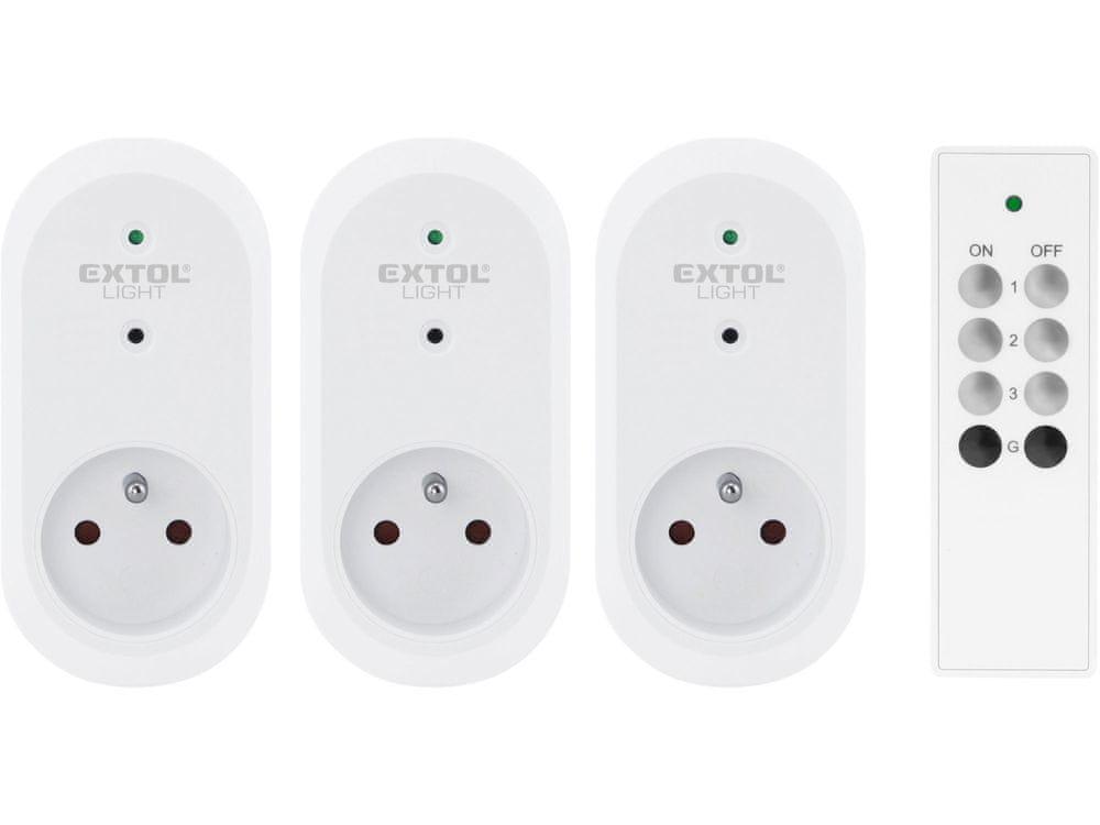 Extol Light Zásuvka diaľkovo ovládaná, 3ks, IR diaľkové ovládanie