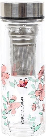 Yoko Design skleněná láhev se sítkem na čaj, 350 ml, růžová