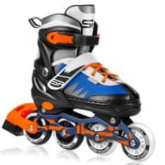 Spokey TONY Kolieskové korčule, čierno-modro-oranžové, ABEC7 Carbon, veľ. 29-33