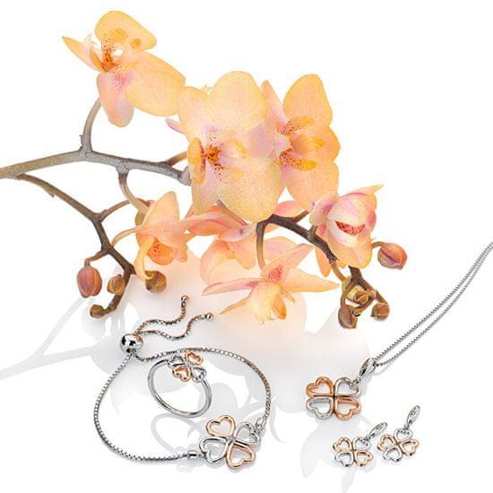 Hot Diamonds Srebrni prstan iz deteline s štirimi listi z diamantom Lucky in Love DR215 srebro 925/1000