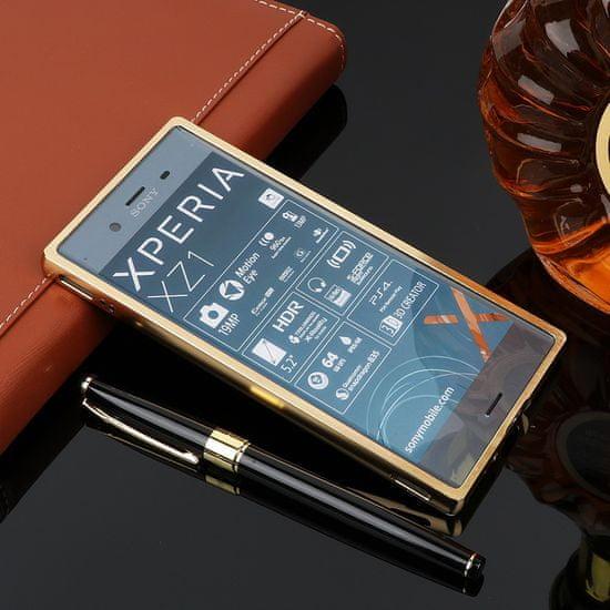 Howanni Hliníkový kryt MIRROR pro Sony Xperia XZ1 - zlatý