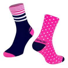Force Cyklistické ponožky Spot - růžovo-modré, S-M