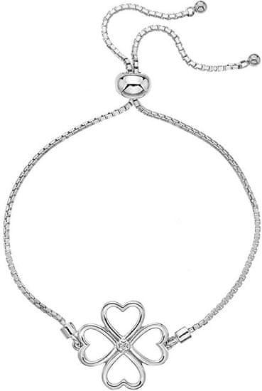 Hot Diamonds Srebrna zapestnica s štirimi listi z diamantom Lucky in Love DL603