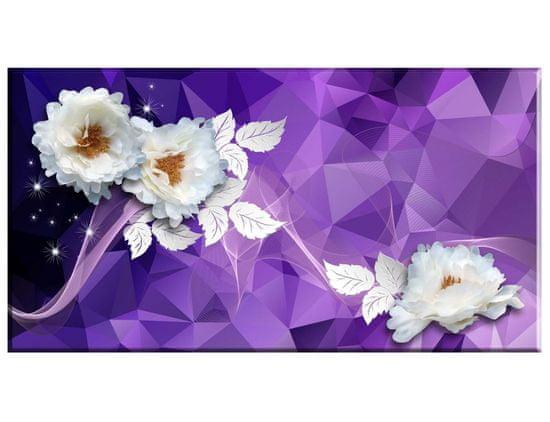 Dalenor Abstraktný obraz Biele kvety, 90x50 cm