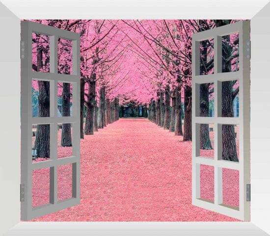 InSmile Obraz růžová alej za oknem Velikost: 100x80 cm