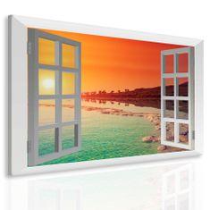 InSmile Obraz rajské pobřeží za oknem Velikost: 100x80 cm