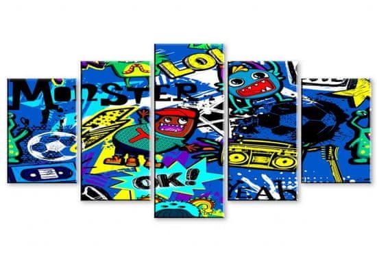 Dalenor Detský obraz Bláznivé graffiti, 100x50 cm