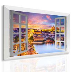 Obraz večerní Praha za oknem Velikost: 100x80 cm