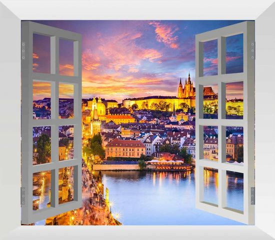 InSmile Obraz večerní Praha za oknem Velikost: 100x80 cm
