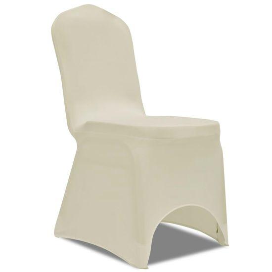 shumee Naciągany pokrowiec na krzesło - kremowy - 50 szt.