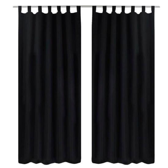 shumee Czarne atłasowe zasłony z pętelkami 2 szt. 140 x 245 cm