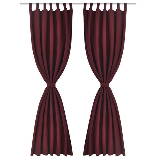 shumee 2 kosa bordo satenasih zaves z obročki 140 x 175 cm