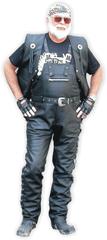 Bikersmode kalhoty KP-1L lacláče kožené barva: černá, Velikost: 50