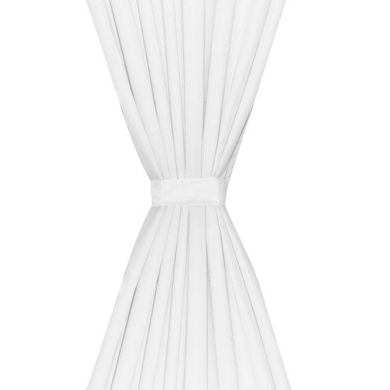 shumee 2 kosa belih dvoplastnih zaves 140 x 245 cm