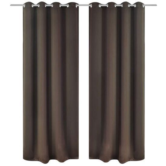 shumee Brązowe zasłony zaciemniające z metalowymi otworami x2 135 x 245 cm