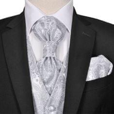 shumee Pánska strieborná svadobná vesta s doplnkami, vzor paisley, veľkosť 48