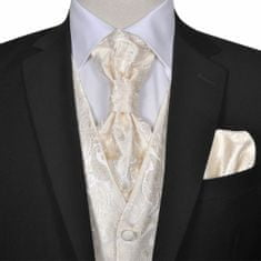 Greatstore Pánská paisley svatební vesta a doplňky velikost 54 krémová