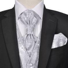 shumee Pánska svadobná vesta s doplnkami, vzor paisley, veľkosť 50, strieborná