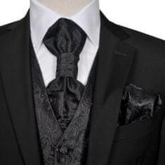 Greatstore Pánská paisley svatební vesta a doplňky velikost 48 černá
