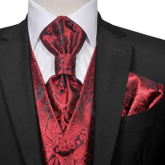 shumee Férfi Praisley esküvői mellény szett méret 48 burgundi bőr szín