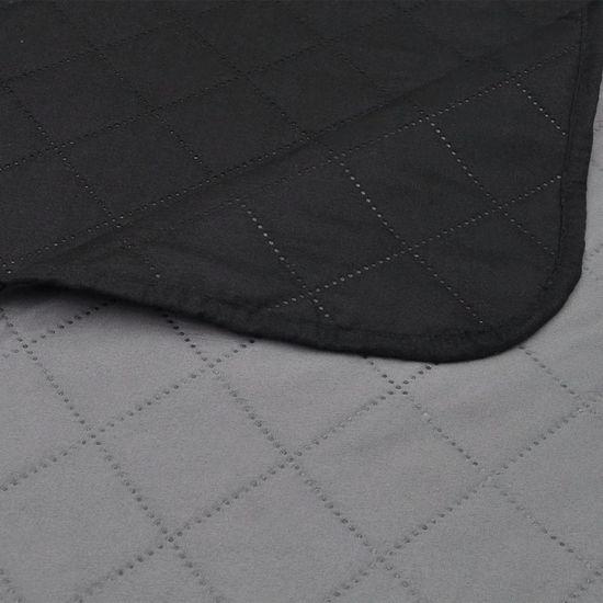 shumee Dvo-stransko Prešito Posteljno Pregrinjalo Črno/Sivo 170 x 210 cm