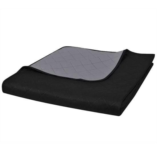 shumee Dwustronna pikowana narzuta na łóżko Czarna/Szara 230 x 260 cm