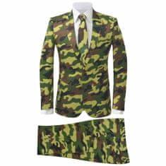 Greatstore Pánský dvoudílný oblek s kravatou, maskáčový, vel. 46